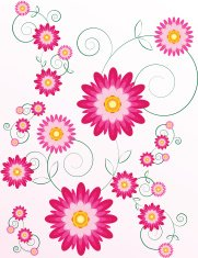 Stylized Chrysanthemums Floral Background Design with Graceful C