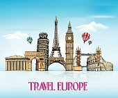 Travel Europe Hand Drawing with Famous Landmarks and Places