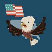 eagle character taking wing and holding U.S. Flag. character