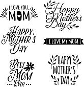 Set of monochrome of simple logos to celebrate Mother's Day.