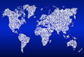 World map with glowing data centers