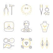 Set of jeweler profession linear icons