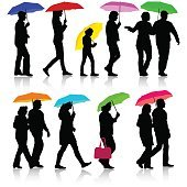 Black silhouettes man and woman under umbrella. Vector