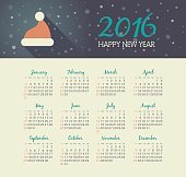 Calendar 2016 year with christmas hat