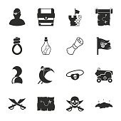 pirate 16 icons universal set for web and mobile
