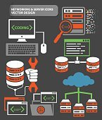 Network,database and server icons,clean vector