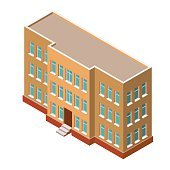 Detailed Isometric building on a white background. Real estate.