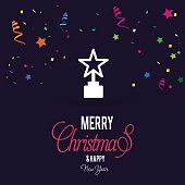 Christmas card with christmas star Flowing confetti backgound