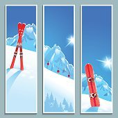 Set of banners with sunny winter landscape, vector illustration, eps10.