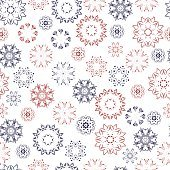 Seamless pattern with beautiful snowflakes. Winter ornament for background
