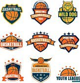 Basketball logotype collection ,sport badge set, vector illustra