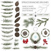 Spruce branches brushes set with Pine cones and bow