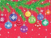 CHRISTMAS BALLS ON PINE SNOWY BACKGROUND RED 1