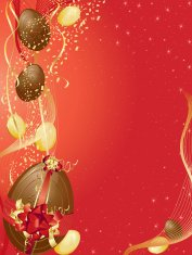 Red and Gold Easter Egg Background Vertical