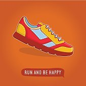 Vector icon shoes for training. Running shoe sticker, kids sneaker