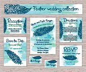 wedding typography set of cards with hand drawn zentangle feather