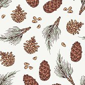 Hand drawn wreath and pine cone winter seamless pattern. Doodle