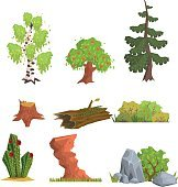 Trees, Bushes and Nature Elements, Vector Set