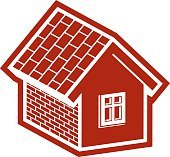 Simple village mansion icon, vector abstract house. Country house