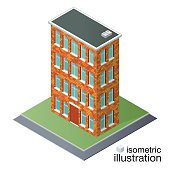 Isometric brick building. Detailed vector illustration on a white background.
