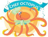 vector illustration of kiddy cook octopus