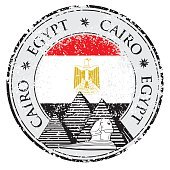 Grunge rubber stamp with Pyramid Cairo, Egypt, vector illustration