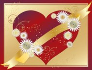Rich Red Heart, Flowers, Ribbon, and Gold Background