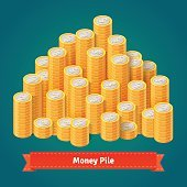 Huge pile of stacked gold coins.