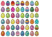 Illustration of forty eight easter eggs on a white background.