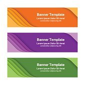Set of modern colorful horizontal vector banners, material design style.