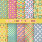 Retro kids vector seamless patterns. Endless texture