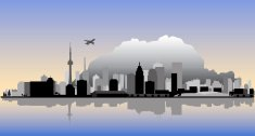 Toronto Vector Cityscape with Water Reflection