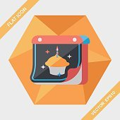 birthday calendar flat icon with long shadow,eps10