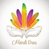 Mardi Gras vector mask with colorful feathers  isolated on white.