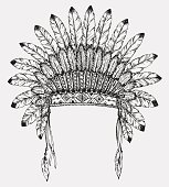 Native American indian headdress with feathers in sketch style.