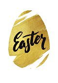 Gold Foil Happy Easter Greeting Egg Card