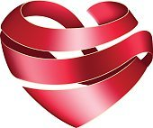 Ribbon twisted in the shape of heart