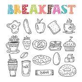 Hand drawn breakfast set. Collection of various sketches food