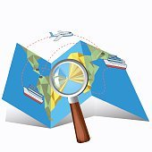 guide with a magnifying glass vector