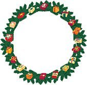 Christmas round frame or wreath of fir branches with decor