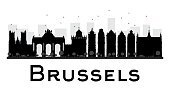 Brussels City skyline black and white silhouette