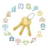 Real Estate Concept and Outline Icon Set. Vector