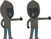 Funny and cheerful Character Anonymous Hackers showing thumb up