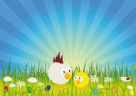 Easter - Chick and rooster on green meadow