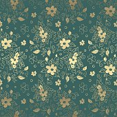 Floral elegant luxury seamless pattern in gold and green colors