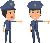 Frustrated and Angry Character Constabulary showing thumb down a