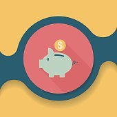 Piggy bank flat icon with long shadow,eps10