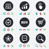 Internet, seo icons. Online shopping, charts.