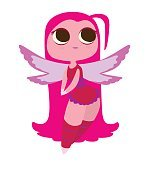 Cute female fairy with big eyes and bright pink hair