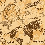 Seamless pattern with vintage globe, abstract world map, rope knots